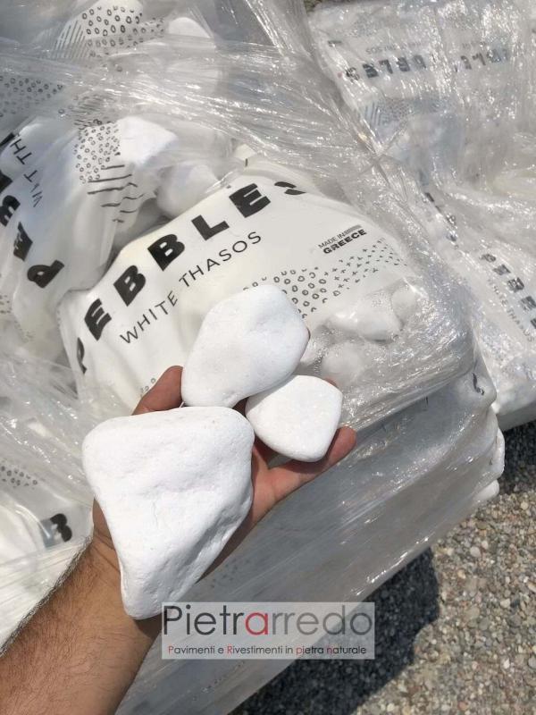 ciottolo bianco puro thasos grecia brillante bianchissimo prezzo pietrarredo granulati zandobbio costi offerta arredo giardino stone garden pebbles
