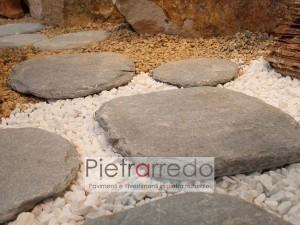 lastra da giardino vialetto prato camminamento ovali steps passi piede pietra costi pietrarredo milano