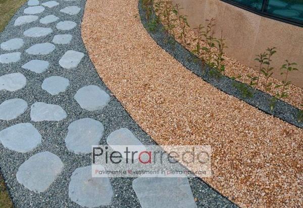 lastre camminamento giapponese zen giardino ovali pietra grigia per passi con piede prato prezzo costi pietrarredo