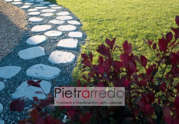 ocamminamento prato passi giapponesi lastre giardino costi pietrarredo milano steps pietra sassi