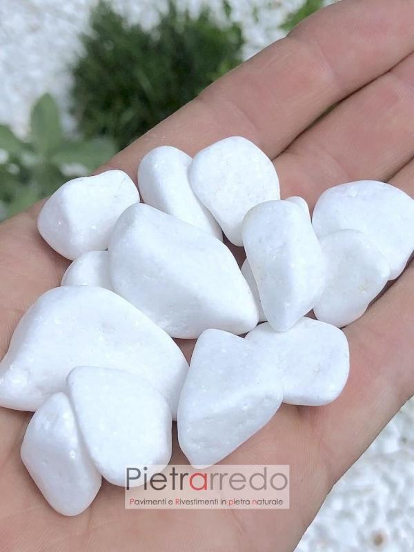 offerta ciottolo bianco thassos thasos zandobbio granulato costo prezzo pietrarredo milano stone city bergamo