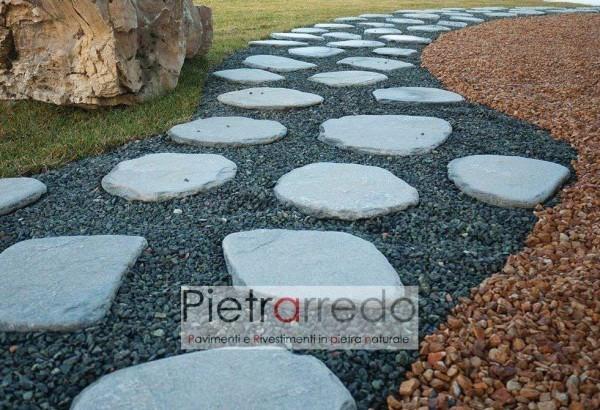 passi giapponesi anticati in pietra vera zen ovali tondi pietrarredo milano