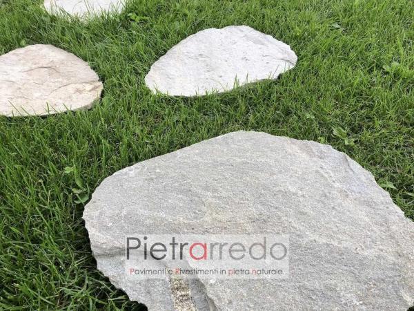pietre naturali per passaggio vialetti in mezzo al prato camminamenti passi giapponesi belli stone garden pietrarredo milano costo