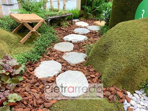 pietre rotonde anticate per passaggi prato giardino passi giapponesi zen pietrarredo milano costo prezzo