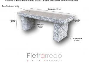 Panca panchina sasso pietra dritta modello livigno sasso prezzo rustica pietrarredo