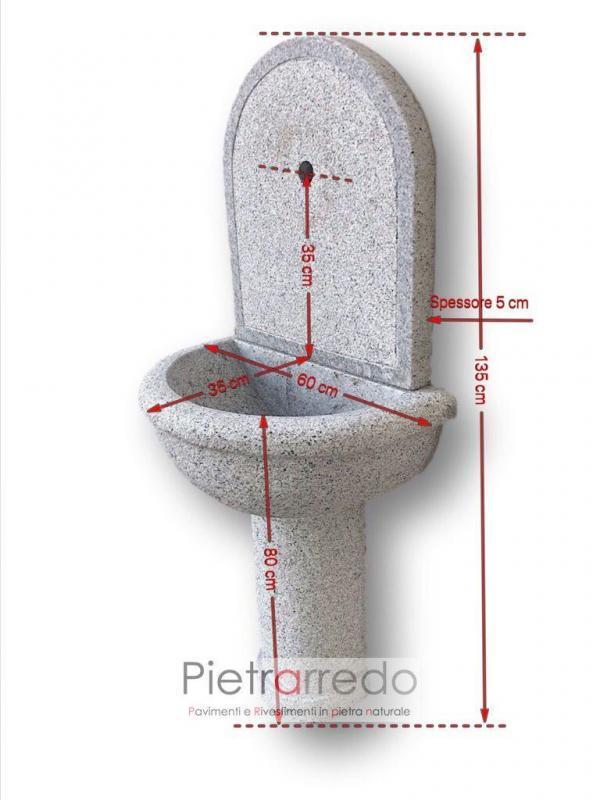 fontana a vasca con lavandino da muro parete in pietra granito grigio scalpellinato bocciardato prezzo