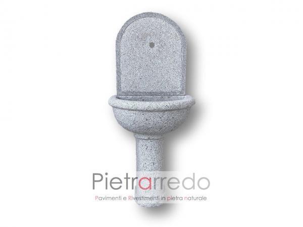 fontanella in pietra da muro granito grigio prezzo fatta a mano