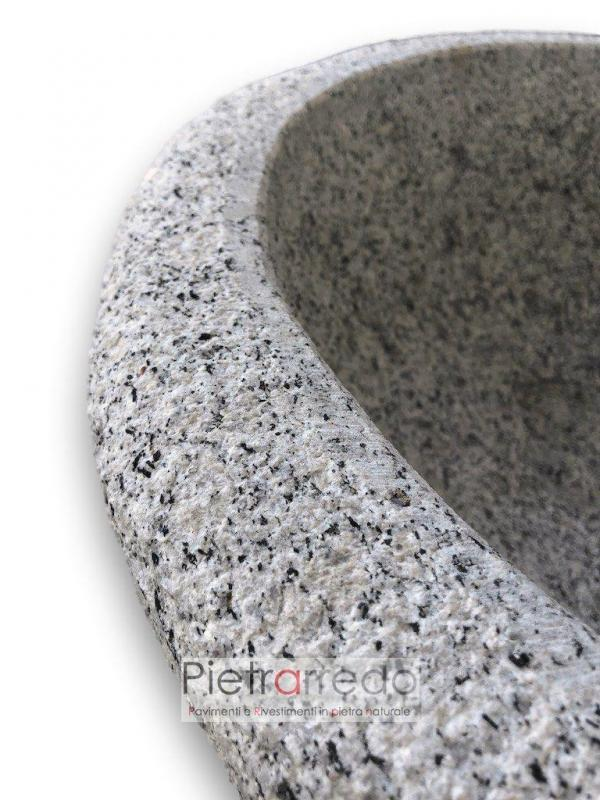 lavello per acqua in pietra granito sasso grigio appoggiare parete prezzo pietrarredo