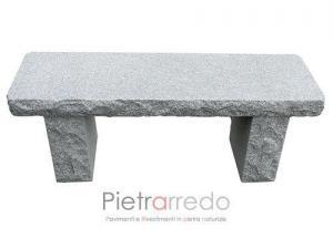 panchina in granito grigio sasso livigno martellinato da giardino prezzo pietrarredo milano
