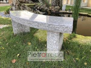 panchina in pietra granito tonda restica per giardini stone garden prezzo pietrarredo milano