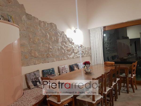 parete soggiorno sala rivestita con pietra borgo toscano stone deco pietrarredo prezzo costo