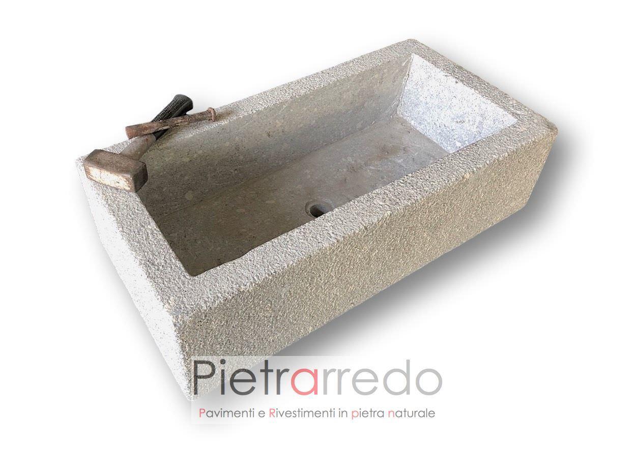 Fioriera/lavandino/lavello bocciardato in granito pietra , IN ...