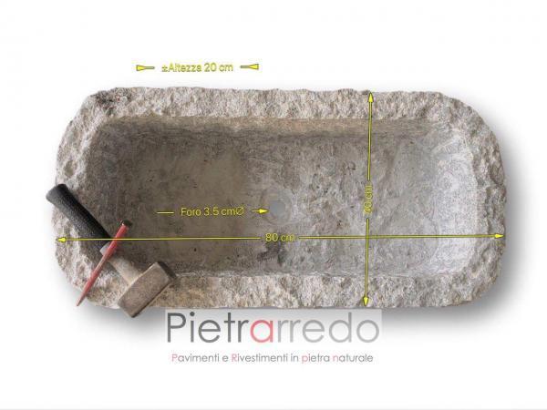fioriera arredogiardino sasso pietra fatta a mano 80x40cm martellinata scalpellinata costo