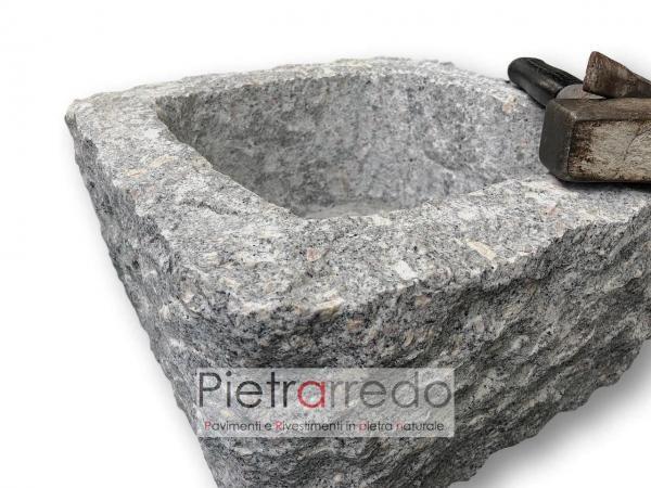 fioriera e lavabo in pietra naturale granito sasso fatto a mano scalpello costo