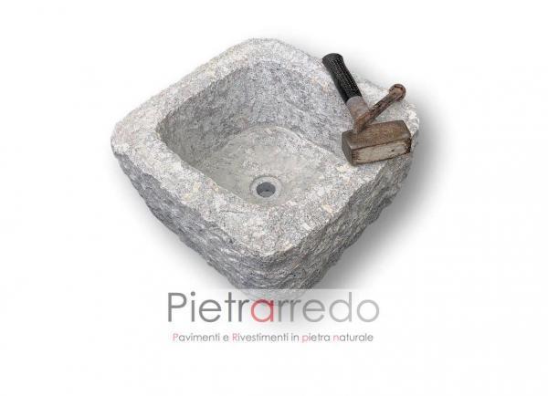 fioriera granito quadrata 40x40cm scalpellinata prezzo pietrarredo milano