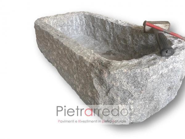 fioriera in granito grigio montorfano scalpellinata a mano prezzo costo pietrarredo