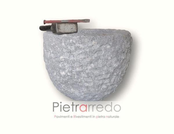 fioriera rotonda in granito fatta a mano diametro 40 cm prezzo costi milano