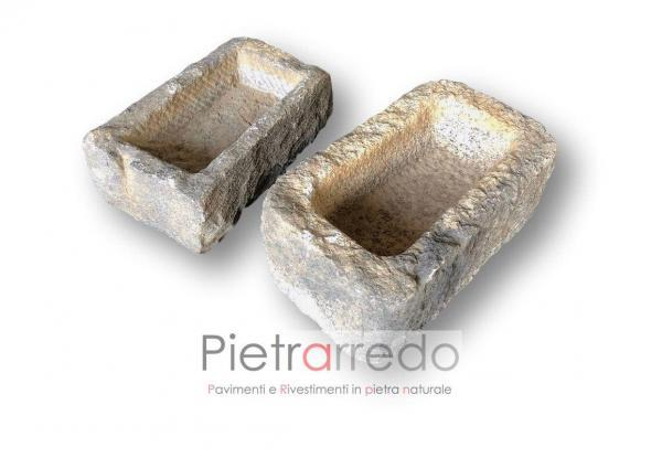 lavandini antichi in pietra saso e granito fati a mano scalpellinato antichità vintage lavello