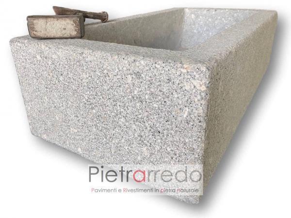 lavello bagno in sasso pietra lavandino fioriera granito prezzo costi pietrarredo milano