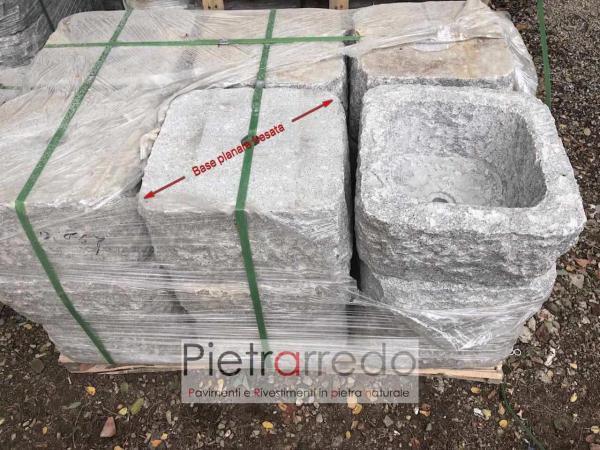 manufatti in pietra fioriera in sasso quadrata prezzo pietrarredo milano