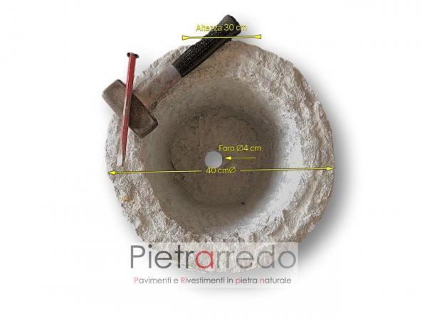 vaso in piatra granito montorfano bianco sardo fatta a mano diametro 40 cm prezzo