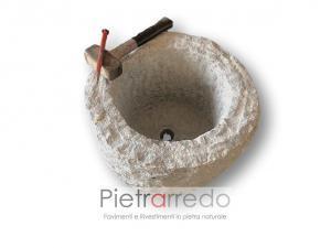 vaso in sasso granito pietra fatto a mano per fiori e fioriere prezzo costo pietrarredo milano