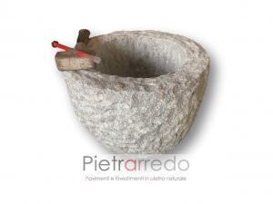 vaso in sasso rustico per baite e cascine fatta a mano granito pietra vosti arredogiardino