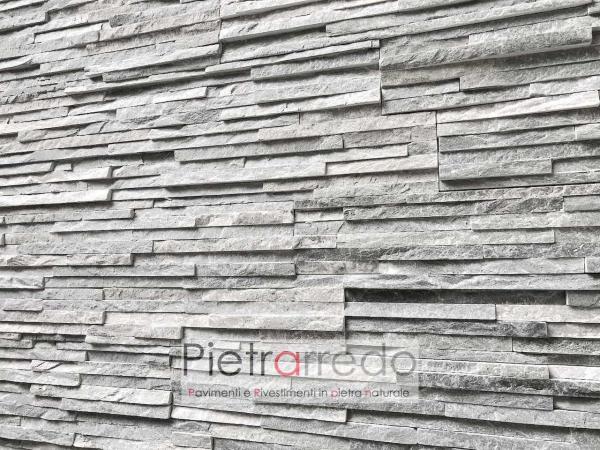 bellissima parete in pietra sasso decorata muri quarzite grigia slim pietrarredo milano