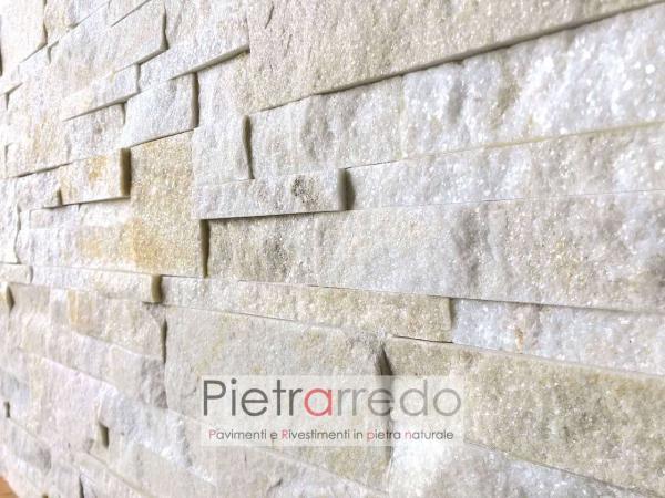 costo parete rivestita a listelli placche decorative quarzite beige scozzese stone cladding price prezzo offerte sconti