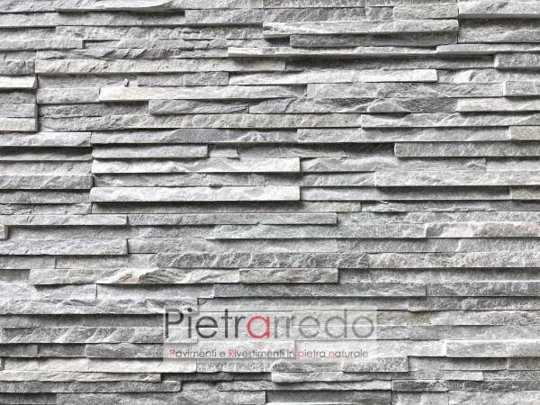 costo rivestimento in pietra naturalequarzite grigia slim bella elegante parete