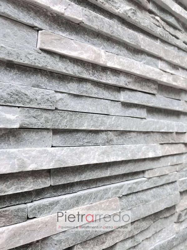 elegante muro in sasso e pietra a listelli grigi piccoli costo prezzi
