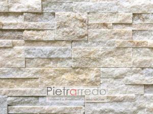 listelli sottili di pietra e sasso per rivestire camino in offerta pietrarredo milano quarzite gialla