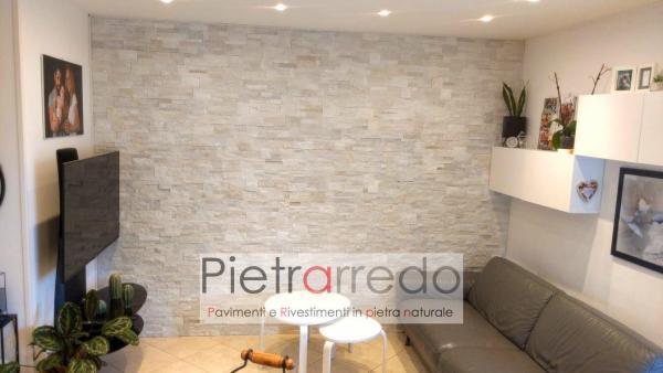parete rivestita in pietra quarzite beige scozzese prezzo listelli brillantinati scaglia pietrarredo milano