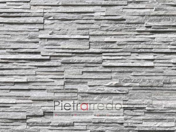 prezzi e costi per rivestire parete in pietra sasso quarzite grigia slim