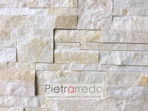 prezzo rivestimento in pietra quarzite brillante pietrarredo stone cladding panel price zeta costi beige scozzese offerta