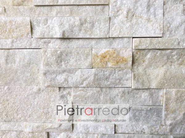 rivestimento in pietra naturale quarzite beige scozzese zeta prezzo costi pareti e facciate offerte pietra gialla brillantinata stone panel shine price
