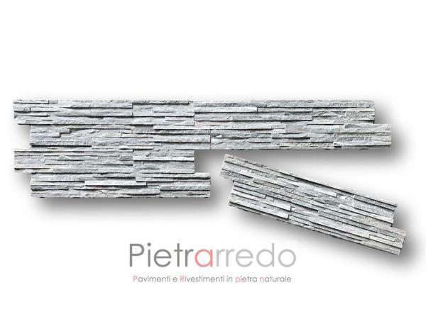 rivestimento inpietra naturale quarzite grigia slimin offerta per pareti e facciate Milano Roma