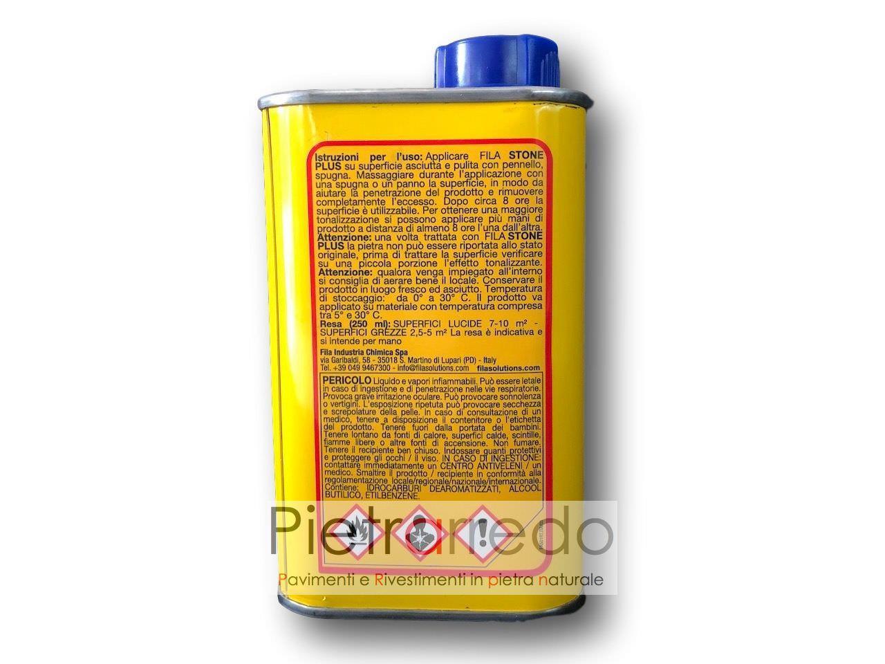 """Pietra Grigia Per Davanzali trattamento-protettivo antimacchia ravvivante per pietra """"fila stone plus""""  250 ml"""