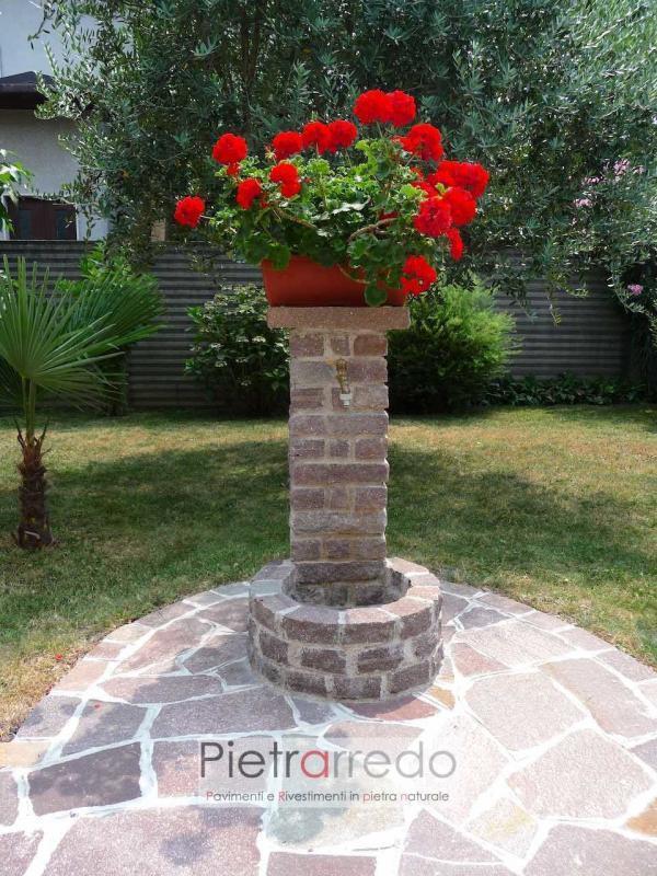 Fontana in porfido eseguita con binderi pietra massello prezzo pietrarredo cordolo fontanella fatta a mano