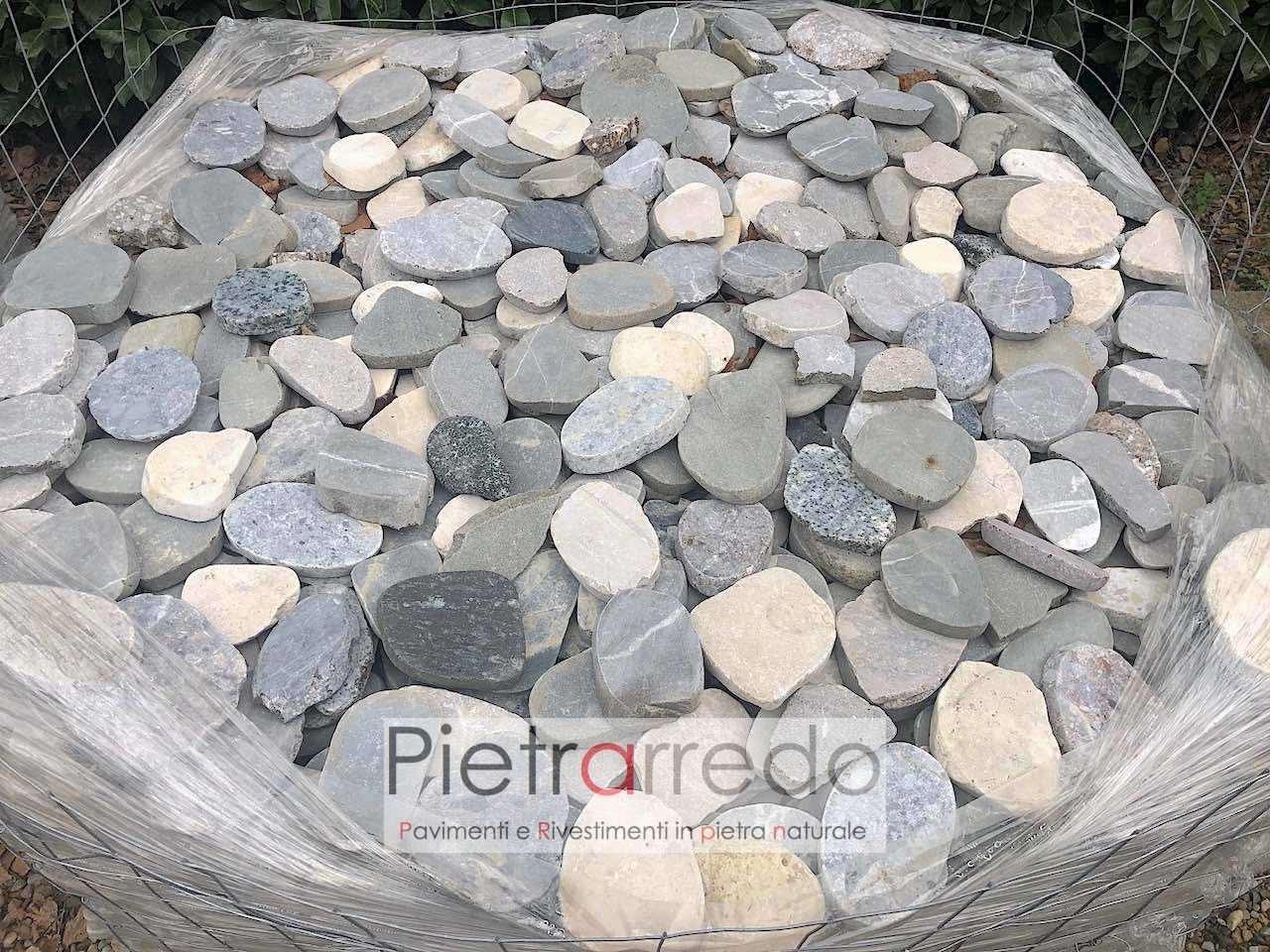 Pavimento in sassi ciottoli di fiume segati a 2 cm prezzi for Ciottoli di pietra bianca per giardino prezzo