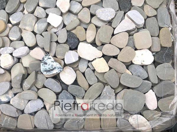 cassa ciottoli di fiume segati piatti pavimento decorazioni sassi prezzo costi risada
