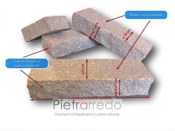 cordoli porfido masselli binderi mattoni pietra porfido viola rosso trentino costo prezzo milano blocchi