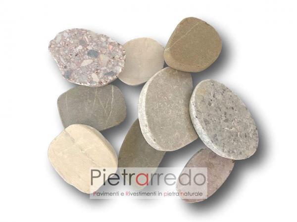 costi ciottoli segati 2 cm sassi vari colori pavimento piatto prezzi