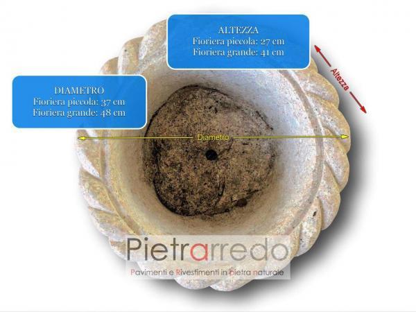 costi e prezzi vasi vasche fioriere in sasso pietra granito eleganti belle pietrarredo milano