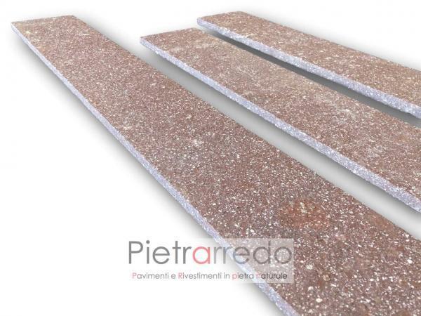costo e prezzo zoccolino porfido fiammato spessore 1 cm viola rossiccio bello pavimento
