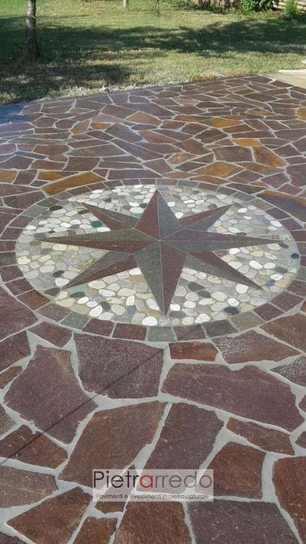 decorazione stella venti porfido ciottoli segati prezzo offerta pietrarredo milano fiume sassi