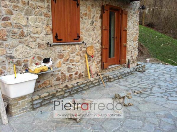 fioriera con binderi e mattoncini in pietra luserna alzate scala gradini prezzi