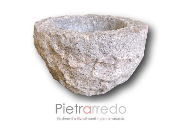 lavabo rotondo in sasso pietra bagno design grezzo prezzo
