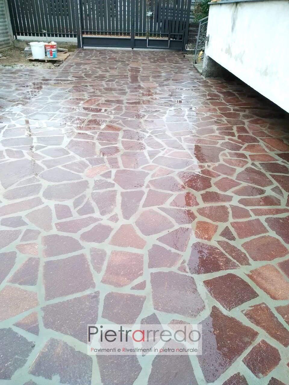 offerta e prezzo paviamento esterno in pietra sasso porfido opus palladiana carrabile pietrarredo milano