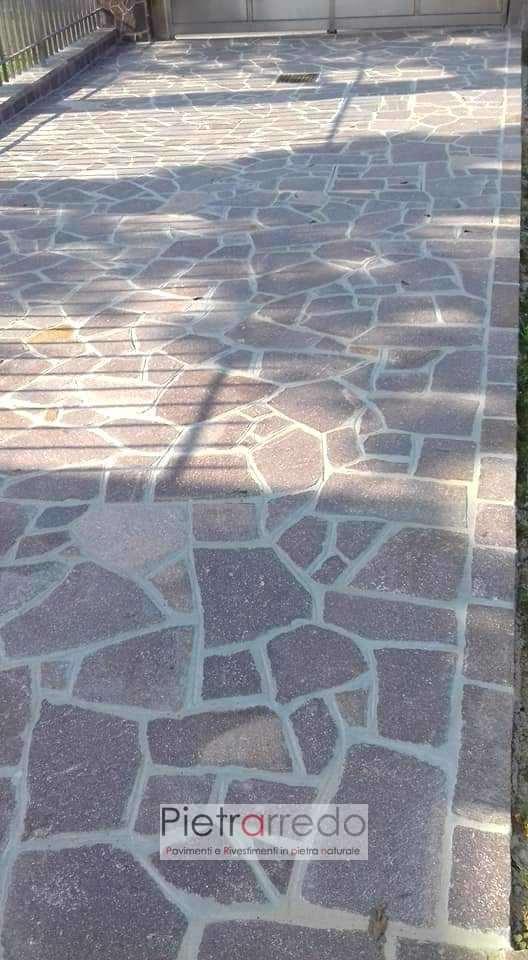 pavimenti esterni in pietra naturale porfido mosaico palladiana opus incertum pietrarredo milano costi prezzi beola viola marrone selciato